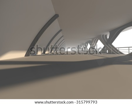 Abstract modern architecture background, empty white open space interior with windows and gray concrete walls, 3D rendering - stock photo
