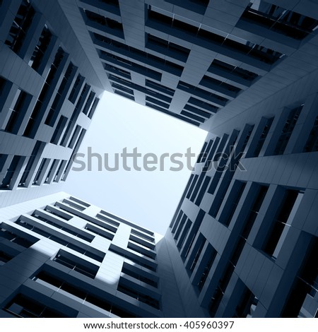 Abstract modern architecture. Dark Inner space of tall modern office tower. 3d render illustration - stock photo