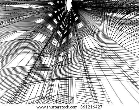 Abstract modern building. 3D render background - stock photo