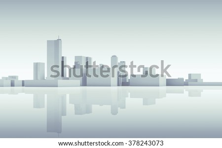 Abstract modern cityscape skyline. Blue toned 3d render with reflection on ground - stock photo