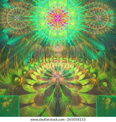 Abstract modern vivid shining spring fractal flower and star background flowers/stars on top and a larger flower on the bottom with decorative arches. In high resolution and in yellow,green,pink,red - stock photo