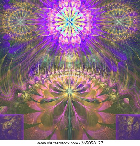 Abstract modern vivid shining spring fractal flower and star background flowers/stars on top and a larger flower on the bottom with decorative arches.In high resolution and in pink,yellow,purple,green - stock photo