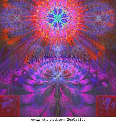 Abstract modern vivid shining spring fractal flower and star background flowers/stars on top and a larger flower on the bottom with decorative arches. In high resolution and in pink,purple,red,cyan - stock photo