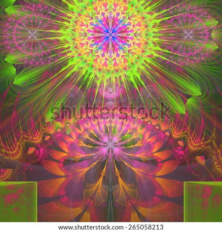 Abstract modern vivid shining spring fractal flower and star background flowers/stars on top and a larger flower on the bottom with decorative arches. In high resolution and in pink,yellow,green,blue - stock photo