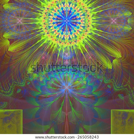 Abstract modern vivid shining spring fractal flower and star background flowers/stars on top and a larger flower on the bottom with decorative arches. In high resolution and in yellow,green,blue,pink - stock photo