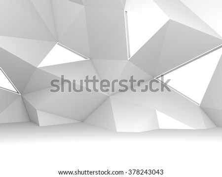 Abstract modern white 3d interior with chaotic polygonal relief pattern on the wall and triangle lamps for soft illumination  - stock photo