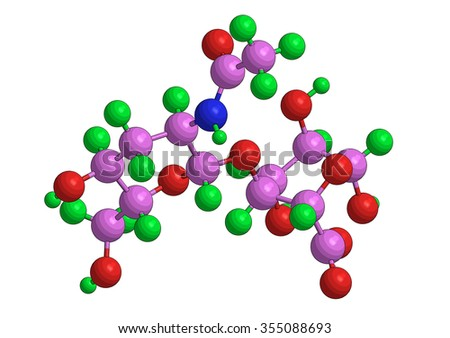 Abstract molecular structure of hyaluronic acid (hyaluronan)  - stock photo