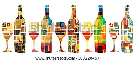 Abstract mosaic designs of wine bottles and glasses - stock photo