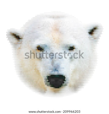 Abstract mosaic head portrait of a polar bear female. The most dangerous animal of the Arctic region. Wild beauty of severe raptor. The mask, isolated on white background. Square illustration. - stock photo