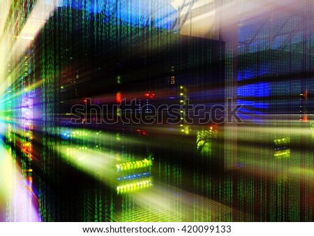 abstract motion blur futuristic room with binary code data center matrix - stock photo