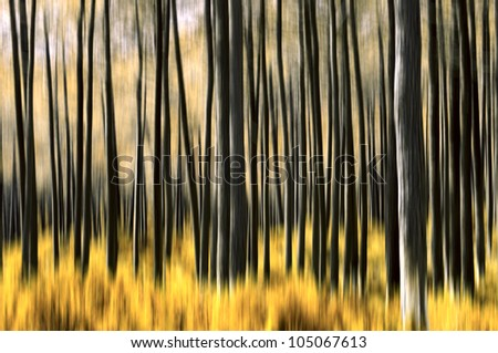 Abstract motion blur of trees in a forest with altered colors - stock photo