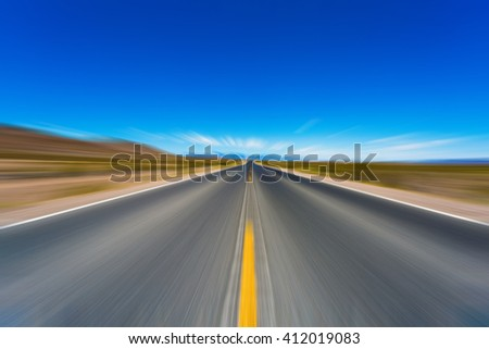 Abstract Motion blurred road - stock photo