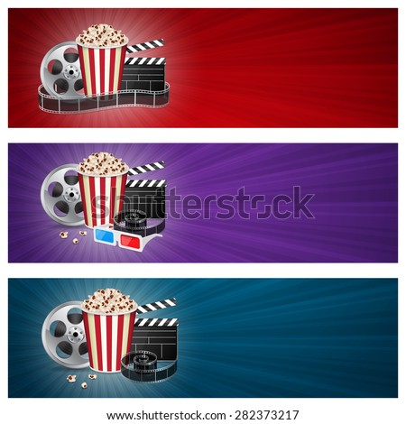 Abstract movie banners. Cinema concept with popcorn, reel, filmstrip and film clapper - stock photo