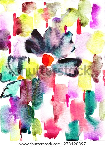 abstract multicolor irregular painting mixed technique background - stock photo