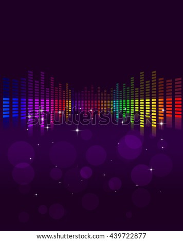 abstract multicolor music equalizer background with stars and blurs - stock photo