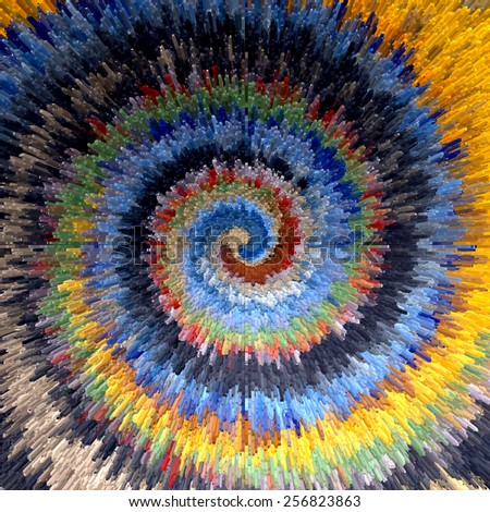 Abstract multicolor textured background. Spiral movement. Illustration. - stock photo