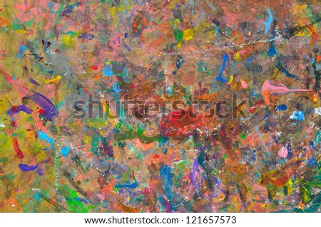 Abstract multicolored background (board for mixing of paints) - stock photo
