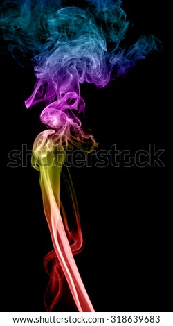 Abstract multicolored smoke on a dark background - stock photo