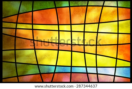 Abstract multicolored stained glass window with sunlight shining, square pattern background - stock photo