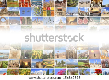Abstract multimedia background made by different Mediterranean vacation photos - stock photo
