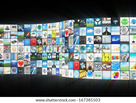 Abstract Multimedia Background with Glowing Rays - stock photo