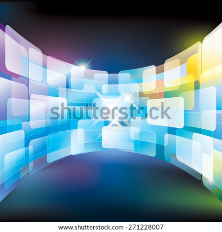 Abstract multimedia virtual screen wall. - stock photo