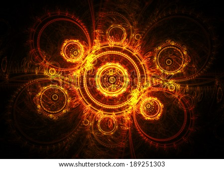 Abstract music background in hot fiery orange ang gold colors - stock photo