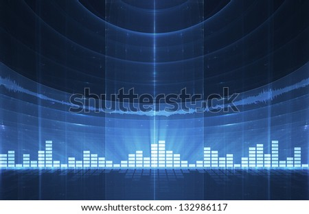 Abstract music equalizer background - perfect for flyers, brochures, posters - stock photo