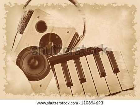 Abstract music grunge background - stock photo
