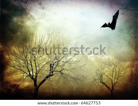 Abstract mystical background, bat - stock photo