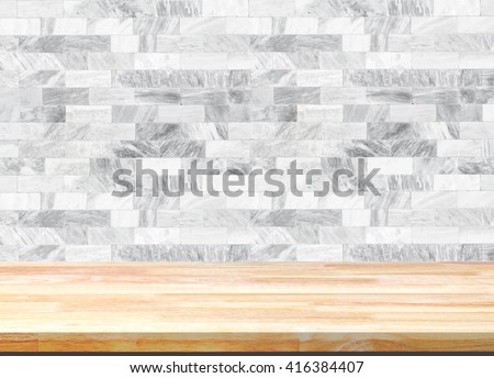 Abstract Natural wood table texture on white marble background : Top view of plank wood for graphic stand product, interior design or montage display your product - stock photo