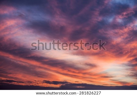 Abstract nature background. Dramatic and moody pink, purple and blue cloudy sunset sky - stock photo