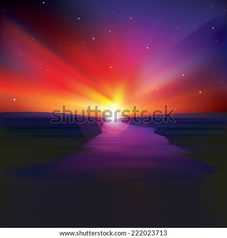 abstract nature background with sunrise and river - stock photo