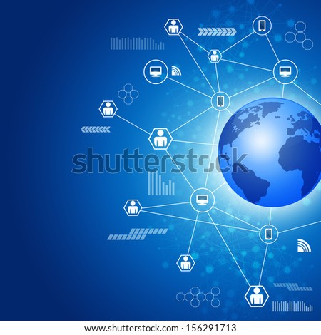 abstract net global connections concept blue background - stock photo