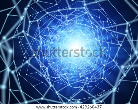 Abstract network connections - 3d illustration - stock photo
