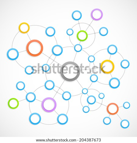 Abstract network with circles. - stock photo