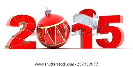 Abstract new year (done in 3d, white background)        - stock photo