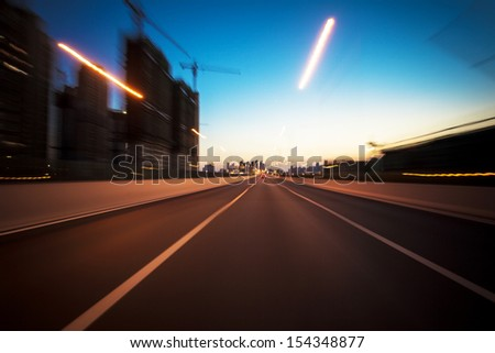 Abstract night, acceleration Speed in motion - stock photo