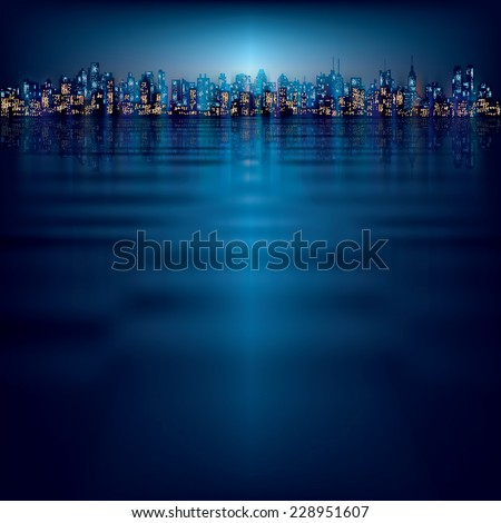 abstract night background with silhouette of city - stock photo