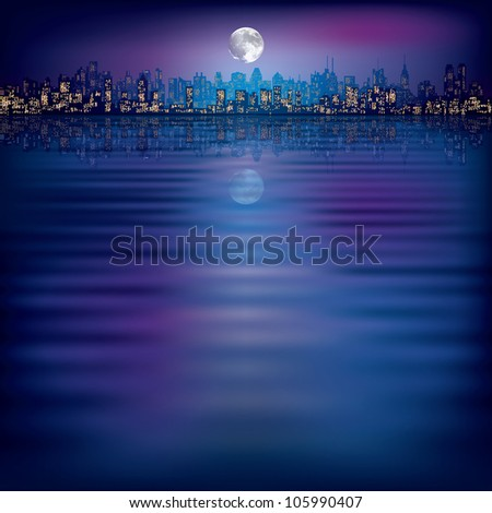 abstract night background with silhouette of city and moon - stock photo