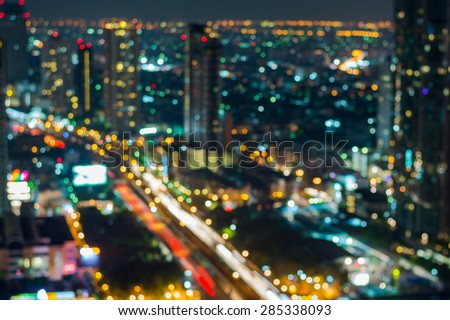 Abstract, night cityscape light blur bokeh, defocused background,Bangkok Thailand. - stock photo