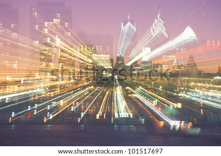 Abstract of a Philadelphia, Pennsylvania skyline at night - stock photo
