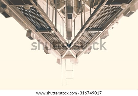 Abstract of air distribution system and lighting.Used color tool for vintage tone. - stock photo