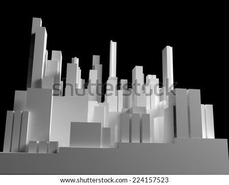 Abstract of blocks city on black background - stock photo