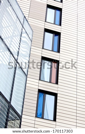 Abstract of colourful (colorful) windows in London - stock photo