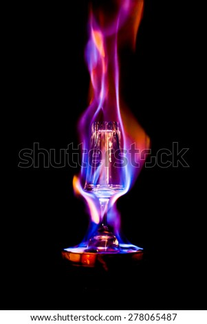 Abstract of fire color on glass. - stock photo