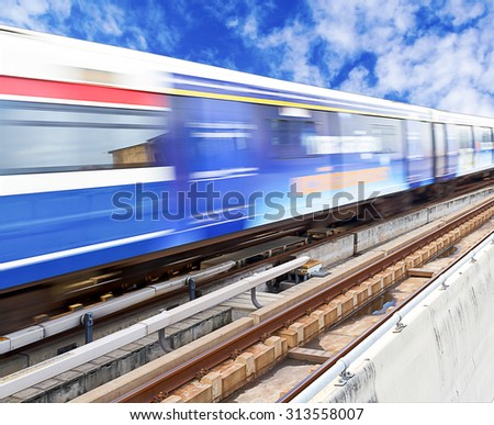Abstract of high speed train with beautiful sky background - stock photo