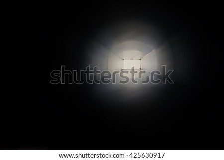 abstract of light at the end of the tunnel - stock photo
