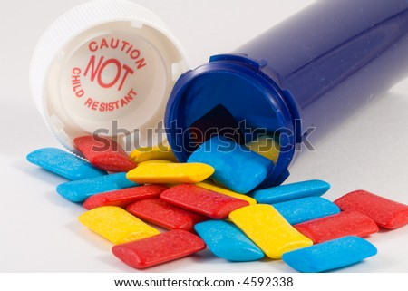 abstract of pill bottle and candy - stock photo