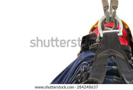 Abstract of safety, safe your life with double rigging. - stock photo